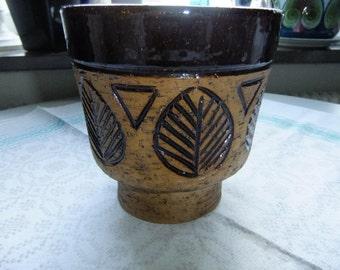Vintage Swedish Laholm rustic ceramic planter with glazed leaf