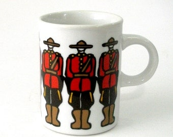 Vintage Marc Tetro Canada Designed Ceramic Mug Royal Canadian Mounted Police RCMP Mounties Danesco Montreal H9j 3Kl Excellent