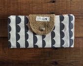 Black and White Scallop Stripe with Burlap and Salmon Floral Fabric