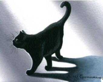 Black Cat ACEO My Shadow by Irina Garmashova