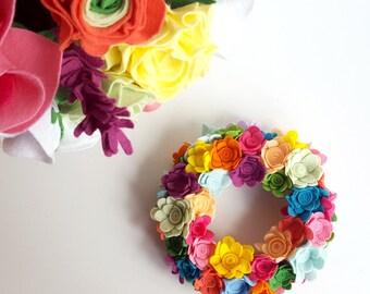 Felt flower wreath, Spring flower wreath, Colorful wreath, Felt flowers, Flower arrangement, candle decoration, flower decoration