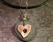 Copper Heart and stone pendant