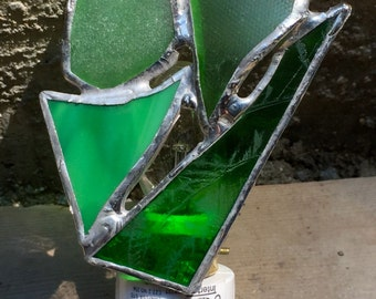 Green vintage and stained glass nightlight