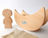 Personalized handmade wooden toy set - miniature baby, swinging baby crib/rocking cradle and linen sleeping bag/bedding