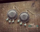 Reata Western Earrings-Chandelier Earrings, Concho Earrings, Turquoise, Southwest