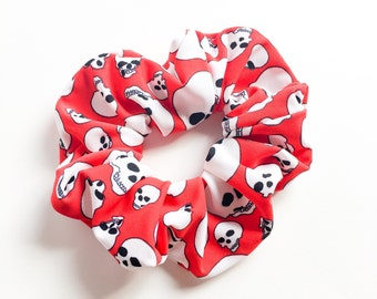 spooky skull red hair scrunchies-back to school hair ties-punk funky goth chou chou-kawaii hair accessory-ponytail holderl-Love Factory ny