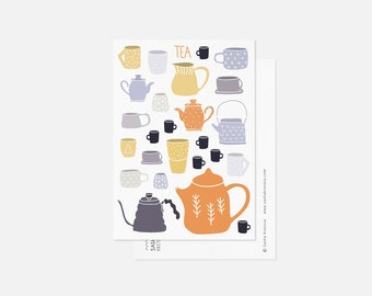 TEA postcard in orange / teapots and teacups illustration