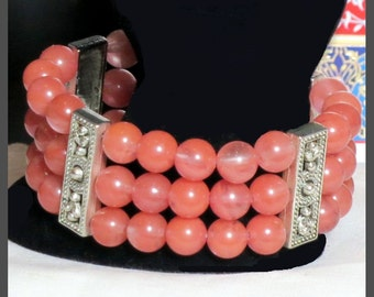 Triple strand bracelet.  Gemstone, Pink, Cherry Quartz with silver dividers.  Hollywood, Bollywood, Boho Chic.  One of a Kind. Handmade