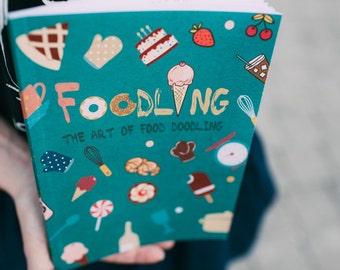 Food coloring book. Doodle book. Food doodles