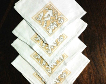 Vintage Cloth Napkins 60's Embroidery Cotton Set of Four Groovy Yellow and Brown