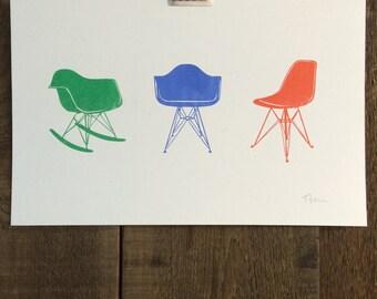 Eames Chairs 11x17 Risograph Art Print