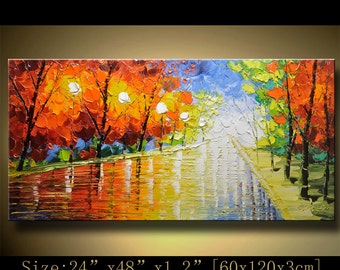 Abstract Wall Painting,Palette Knife Abstract Painting, Textured Painting,,Landscape Painting ,Park Lights Painting  on Canvas, by Chen hh59