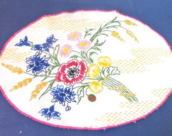 French vintage antique linen doilie/doily hand embroidery made in France. folk art  french bouquet/ french country style Shabby chic