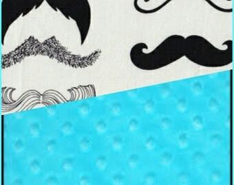 Baby Blanket Cotton Mustache Minky backing 19 colors Carseat Blanket Crib Blanket Minky Blanket