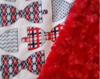 Minky Baby Blanket Bowtie baby blanket navy red bows blanket stroller blanket carseat blanket