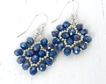 Blue Beadwoven Crystal Dangle Earrings, Bead Woven Dangle Earrings, Beaded Indigo Blue Earrings, Dark Blue Rondelle Earrings, Handcrafted