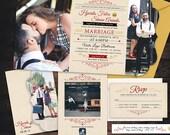 Retro Vintage Tri-fold Wedding Invitation - Boutique Tri Folded - Photo Wedding Invites - Custom Typography - Unique Wedding Invitations
