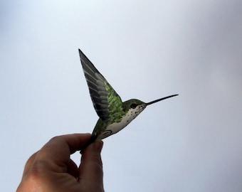 hummingbird art  paper mache  sculpture  ornaments bird
