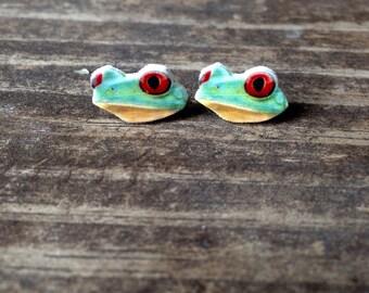 Red eyed tree frog earrings jewelry stud post amphibian