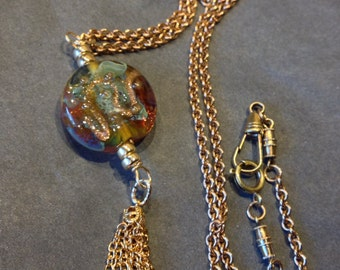 18k Gold Necklace Copper Antique Watch Fob Chain Lampwork Focal Stone