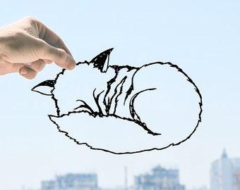 Sleeping Little Fox - Handmade Original Paper Cut Home Decor Gift - UNFRAMED