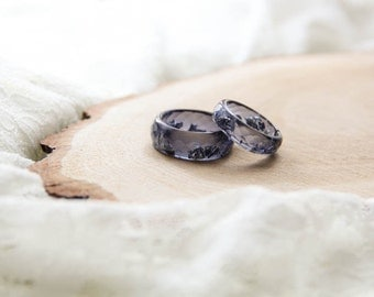 Charcoal Resin Faceted Ring, Epoxy Ring, Dark Gray Resin Ring With Silver Flakes, Unique Resin Ring, Gift For Her, Stacking ring