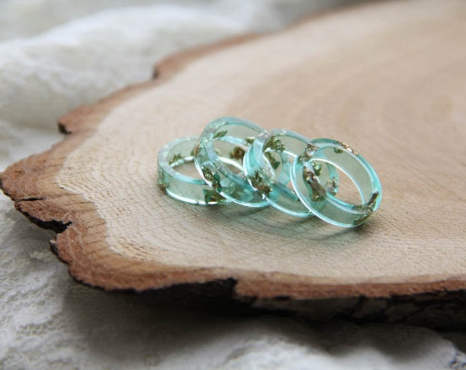 Teal Faceted and Bold Resin Ring With Golden Flakes, Transparent Resin Ring, Geometric Resin Ring, Modern Materials Ring, Unique Resin Ring