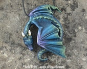 Custom Made Resting Dragon Necklace - Aurora Borealis Dragon - Pre-Order Shipping in 6-10 Weeks