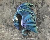 Custom Made Resting Dragon Necklace - Aurora Borealis Dragon