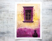 Reserved for Jenn___Bright window original watercolor painting 10x14 purple yellow old town