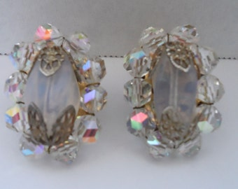 Vintage Laguna Crystal Aurora Borealis and Clear Crystal Moonstone Clip Earrings Rhinestone Earrings Bridal Jewelry