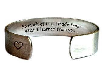 Teacher Gift | Gift for Teachers | Daycare Gift | Babysitter Gift | Nanny Gift | So much of me is made from what I learned from...Bracelet