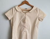 ON SALE 1950s Peter Pan Collar Blouse in Beige / Beige Vintage Button Up Top