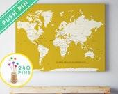 Push Pin World Map CANVAS Yellow Large World Map - 240 Pins