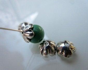 4pc  925 Sterling Silver Bead Caps bright silver--8mm wavy petal bead cap Artisan style boho chic (BC101)