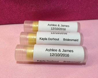3 Personalized bridal party lip balm