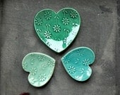Heart Ceramic Ring Dish Mint and Turquoise Love Pottery Plate Flower Jewelry Dish Set of 3
