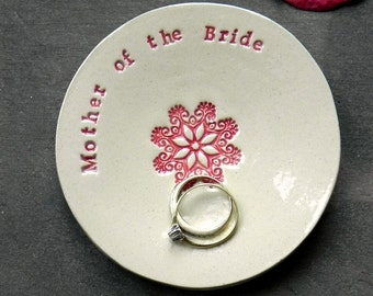 Mother of the Bride Wedding Gift Ring Holder Ceramic Plate Flower Mandala Ring Dish Ivory Jewelry Dish