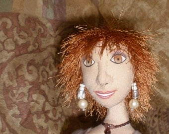 Quinn, 18 inch cloth one of a kind fashion doll in striped lace dress
