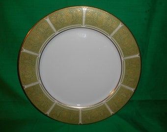 "One (1), 10 1/2"" Porcelain, Dinner Plate from Noritake, in the Eroica 2041 Pattern."