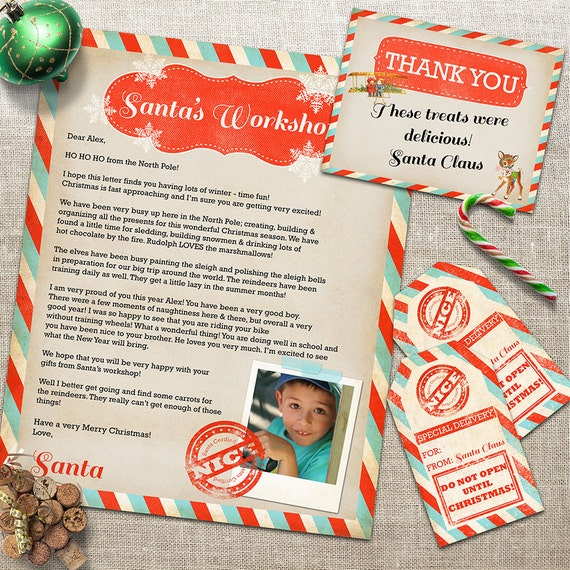 Letter from santa claus gift tags thank you card custom santa il570xn spiritdancerdesigns Images