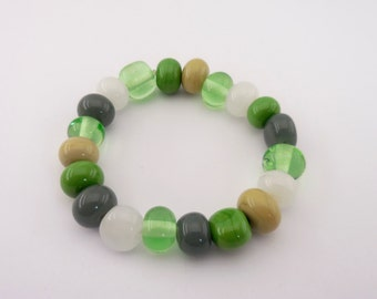 Lampwork glass beads bracelet - green, grey, beige and white