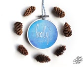 Handmade Ornament Gift, O Holy Night Blue Christmas Embroidery Hoop, Christian Ornament, Holiday Gift Tag, Christmas Decor, Hand Embroidered