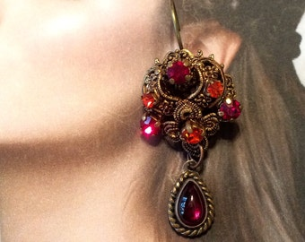 Red Czech Earrings 1940's Garnet Filigree, West Germany