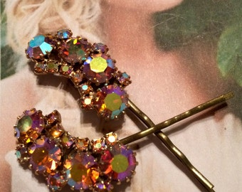 Decorative Hair Pins Jewelry Weiss 1950's Crystal Waterfalll Rhinestone Bridal Hairpins Bobby Pins