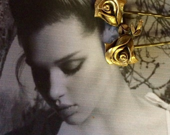 Gold Rose Bridal Hair Pins 1950 Vintage Decorative Hair Jewelry Romantic Wedding Bobby Hair Pins