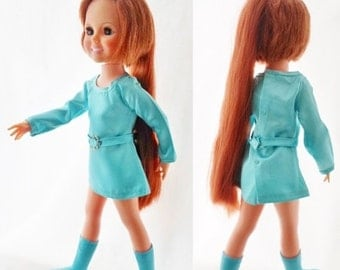 ON SALE Vintage 1971 Ideal Movin Groovin Crissy Doll Wearing 1970 Aqua Satin Mini Crissy Dress, Aqua Crissy Boots, Auburn Hair, Hair Grows,