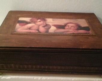 WOOD BURNED JEWELRY/storage trinket box --Cherub faces -- top lid