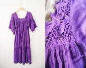 Vintage Purple Rayon Cotton Gauze Crocheted Lace Kaftan Midi Dress