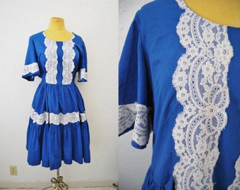 Vintage 70s Blue White Lace Prairie Babydoll Dress Cowgirl Rodeo Kitschy
